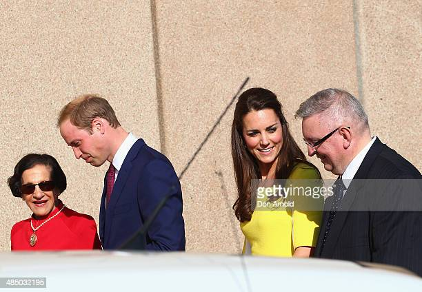 Prince William Duke of Cambridge and Catherine Duchess of Cambridge are seen talking to Her Excellency Professor the Honourable Marie Bashir and Don...