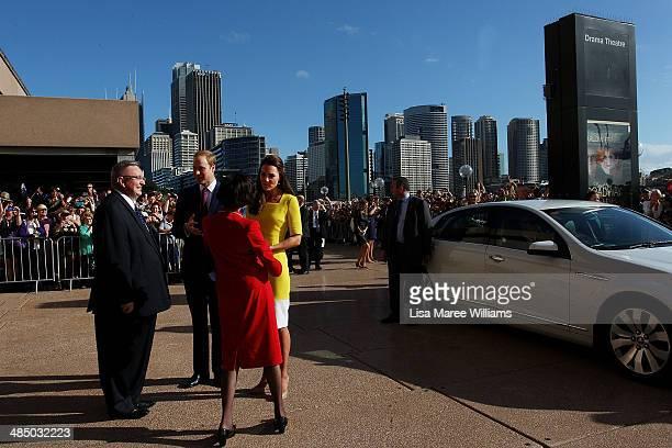 Prince William Duke of Cambridge and Catherine Duchess of Cambridge are greeted by Governor of NSW Marie Bashir and Don Harwin MLC at the Sydney...