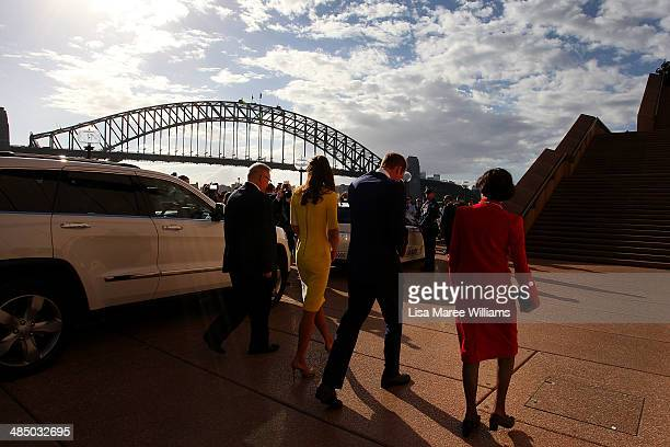 Prince William Duke of Cambridge and Catherine Duchess of Cambridge are escorted by Don Harwin MLC and Governor of NSW Marie Bashir as they arrive at...