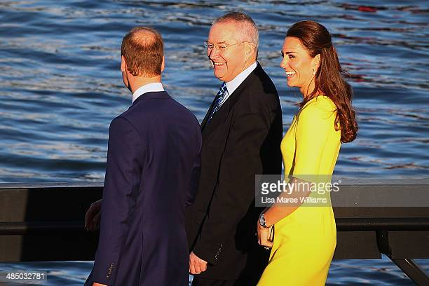 Prince William, Duke of Cambridge and Catherine, Duchess of Cambridge are escorted to a boat by Don Harwin MLC at the Sydney Opera House on April on...