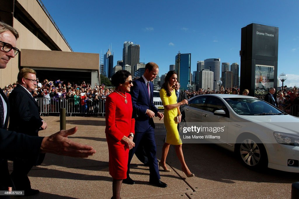 Prince William, Duke of Cambridge and Catherine, Duchess of Cambridge are escorted by Governor of NSW Marie Bashir (L) as they arrive at the Sydney Opera House on April on April 16, 2014 in Sydney, Australia. The Duke and Duchess of Cambridge are on a three-week tour of Australia and New Zealand, the first official trip overseas with their son, Prince George of Cambridge.