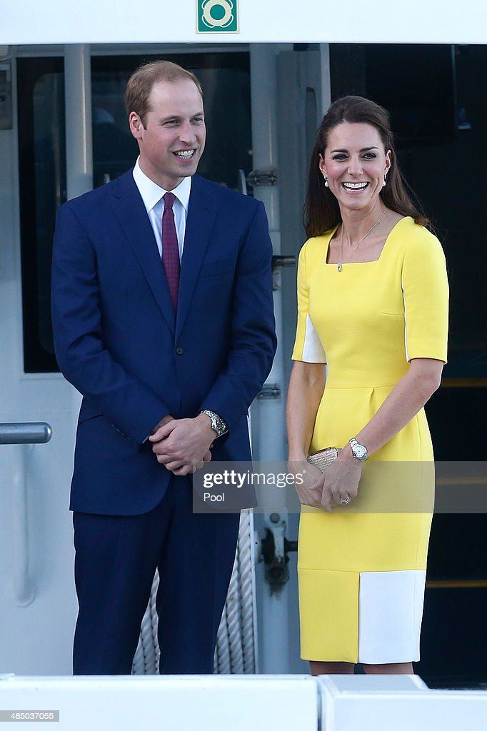 Prince William, Duke of Cambridge and Catherine, Duchess of Cambridge travel by boat from the Man 'O War steps at the Sydney Opera House to Admiralty House on April 16, 2014 in Sydney, Australia. The Duke and Duchess of Cambridge are on a three-week tour of Australia and New Zealand, the first official trip overseas with their son, Prince George of Cambridge.