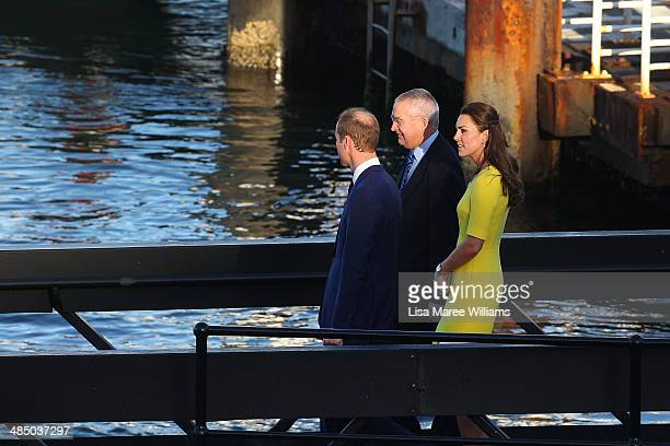 Prince William, Duke of Cambridge and Catherine, Duchess of Cambridge are escorted to a boat by Don Harwin MLC at the Sydney Opera House on April 16,...