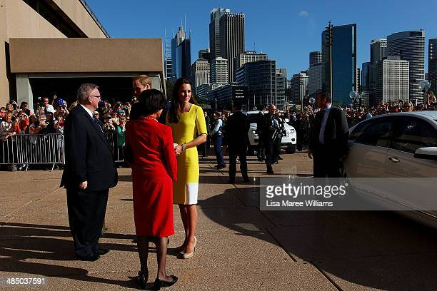 Prince William, Duke of Cambridge and Catherine, Duchess of Cambridge are greeted by Governor of NSW Marie Bashir and Don Harwin MLC at the Sydney...