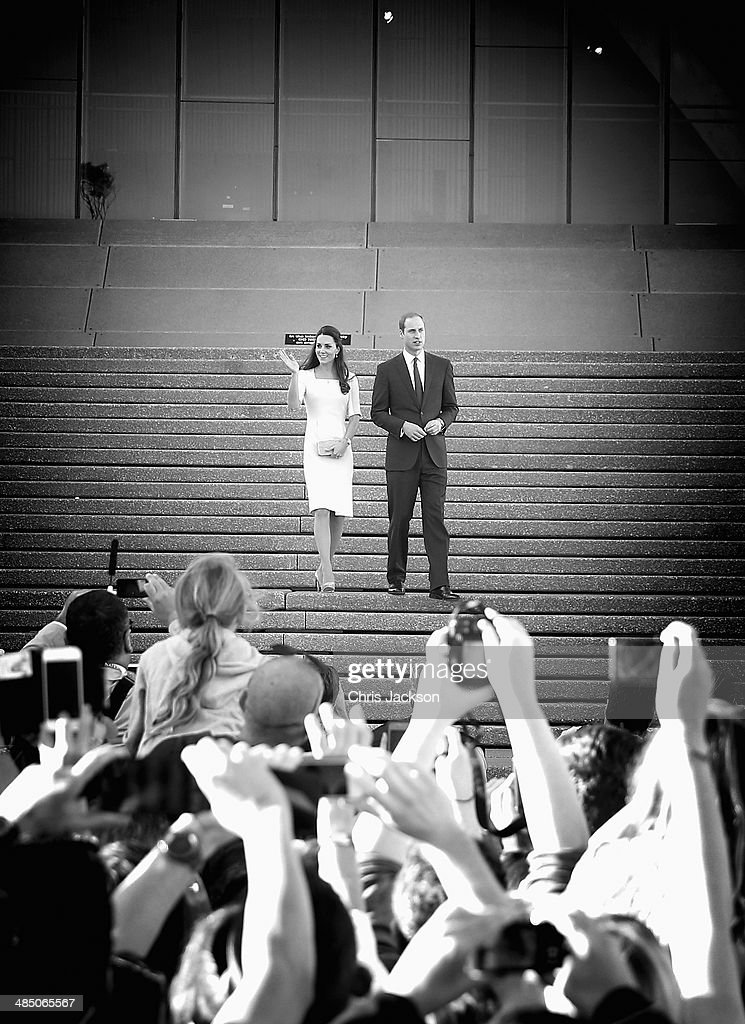 Prince William, Duke of Cambridge and Catherine, Duchess of Cambridge greet the crowds of public outside Sydney Opera House on April 16, 2014 in Sydney, Australia. The Duke and Duchess of Cambridge are on a three-week tour of Australia and New Zealand, the first official trip overseas with their son, Prince George of Cambridge.