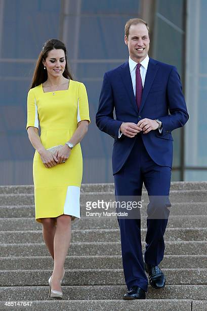 Prince William Duke of Cambridge and Catherine Duchess of Cambridge greet the crowds of public outside Sydney Opera House on April 16 2014 in Sydney...