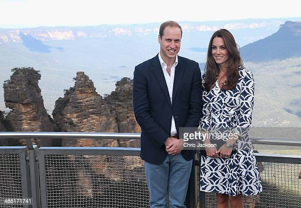 Prince William Duke of Cambridge and Catherine Duchess of Cambridge pose for a photograph at Echo Point with 'The Three Sisters' in the background on...