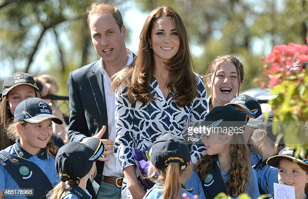 Prince William, Duke of Cambridge and Catherine, Duchess of Cambridge pose with Winmalee Girl Guides after planting a Summer Red Eucalyptus tree at...