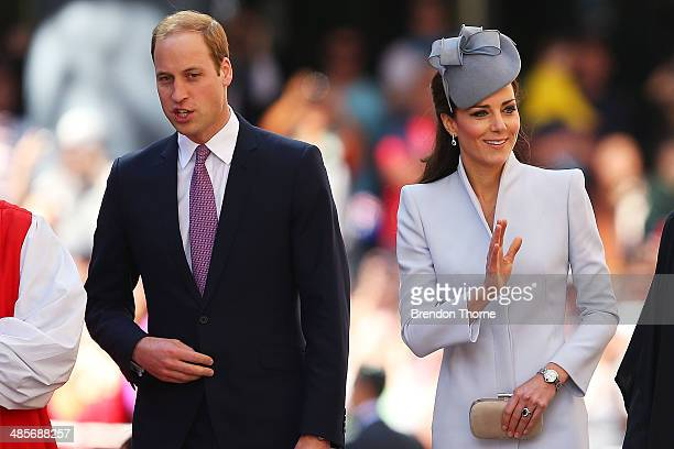 Prince William Duke of Cambridge and Catherine Duchess of Cambridge arrive at St Andrew's Cathedral for Easter Sunday Service on April 20 2014 in...