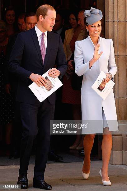 Prince William Duke of Cambridge and Catherine Duchess of Cambridge leave St Andrew's Cathedral following a Easter Sunday Service on April 20 2014 in...