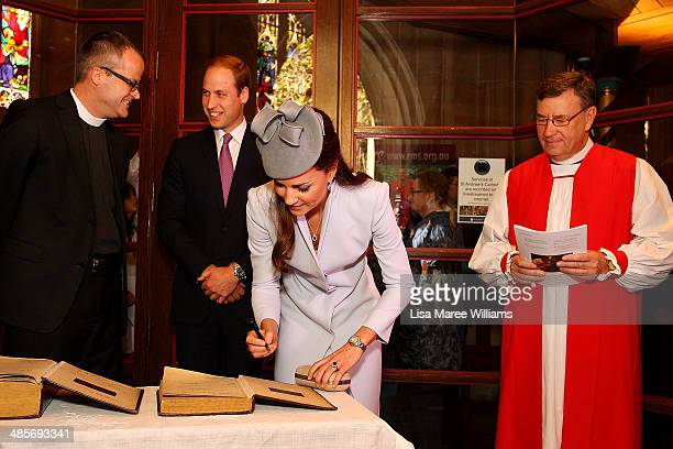 Prince William Duke of Cambridge and Catherine Duchess of Cambridge sign the First Fleet Bible and Prayer Book following Easter Sunday Service at St...