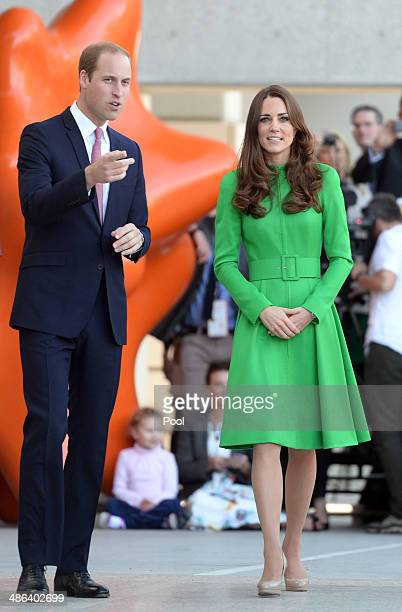 Prince William Duke of Cambridge and Catherine Duchess of Cambridge greet the public during their visit to the National Portrait Gallery on April 24...
