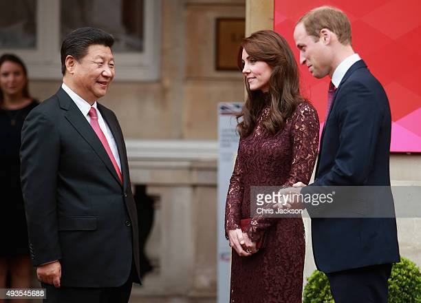 Prince William Duke of Cambridge and Catherine Duchess of Cambridge welcome the President of the Peoples Republic of China Mr Xi Jinping and his wife...