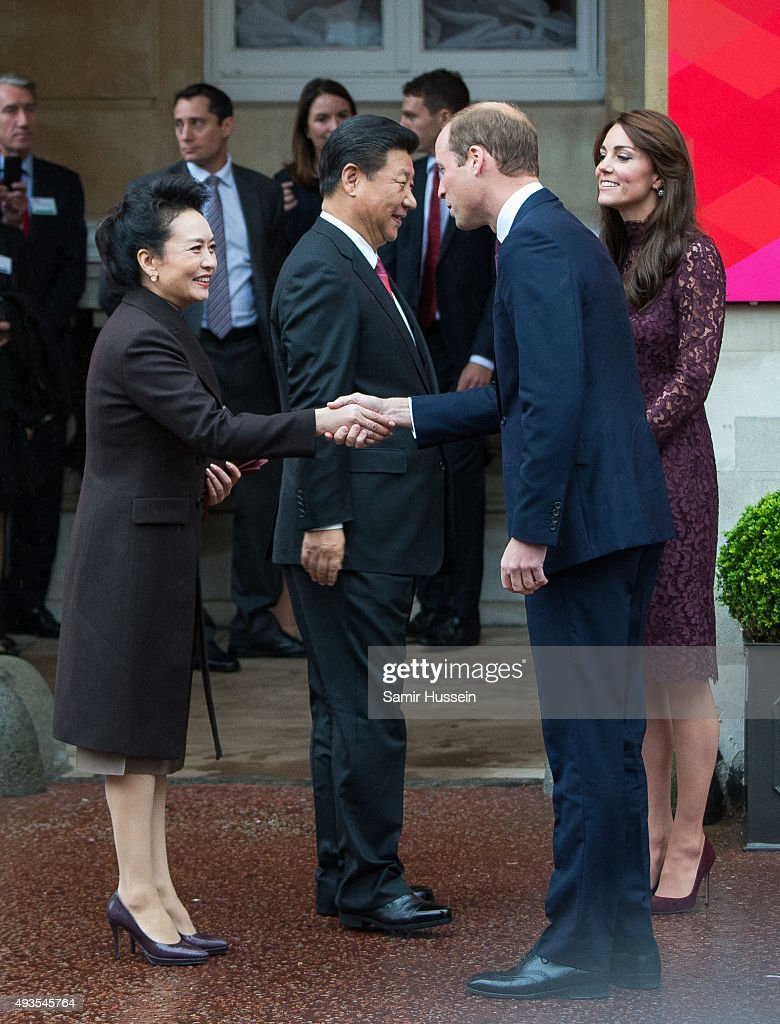 Prince William, Duke of Cambridge and Catherine, Duchess of Cambridge greet Chinese President Xi Jinping at a creative industry event to celebrate cultural collaboration between the UK and China at Lancaster House on October 21, 2015 in London, England.