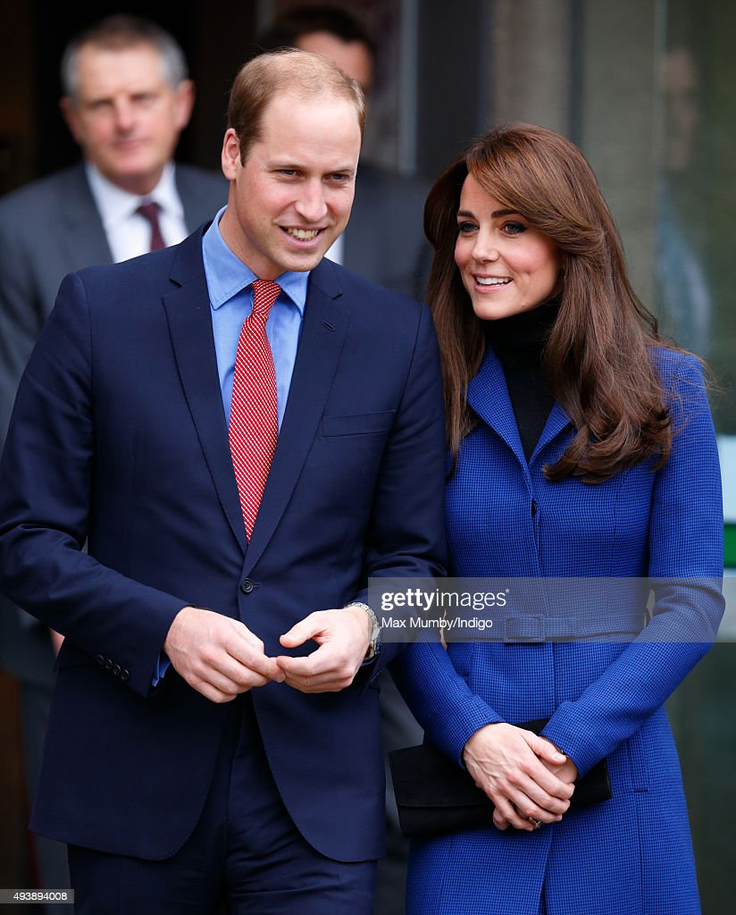 Prince William, Duke of Cambridge and Catherine, Duchess of Cambridge depart after visiting the Dundee Rep Theatre as part of an away day to the Scottish City on October 23, 2015 in Dundee, Scotland.