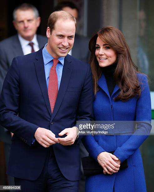 Prince William Duke of Cambridge and Catherine Duchess of Cambridge depart after visiting the Dundee Rep Theatre as part of an away day to the...