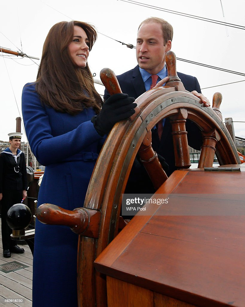 Prince William, Duke of Cambridge and Catherine, Duchess of Cambridge are seen during their visit to the original Royal Research Ship Discovery as part of an away day to the Scottish City on October 23, 2015 in Dundee, Scotland. The Discovery carried Scott and Shackleton on their first expedition to the Antarctic.
