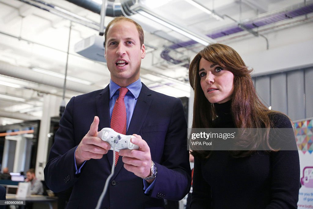 Prince William, Duke of Cambridge and Catherine, Duchess of Cambridge are seen during their visit to Abertay University as part of an away day to the Scottish City on October 23, 2015 in Dundee, Scotland. They met the winners of a UK-wide BAFTA game design competition for 10 to18 year-olds.