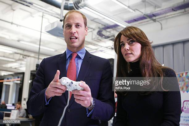Prince William Duke of Cambridge and Catherine Duchess of Cambridge are seen during their visit to Abertay University as part of an away day to the...