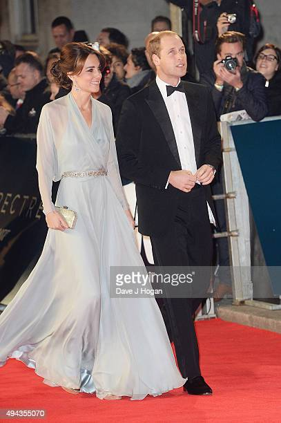 Prince William Duke of Cambridge and Catherine Duchess of Cambridge attend the Royal World Premiere of 'Spectre' at Royal Albert Hall on October 26...