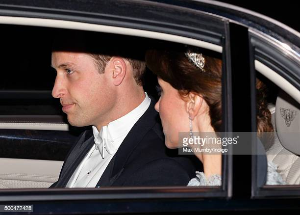 Prince William Duke of Cambridge and Catherine Duchess of Cambridge attend the annual Diplomatic Reception at Buckingham Palace on December 8 2015 in...