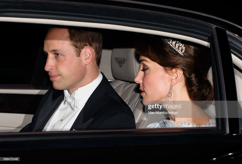 Prince William, Duke of Cambridge and Catherine, Duchess of Cambridge attend the annual Diplomatic Reception at Buckingham Palace on December 8, 2015 in London, England.