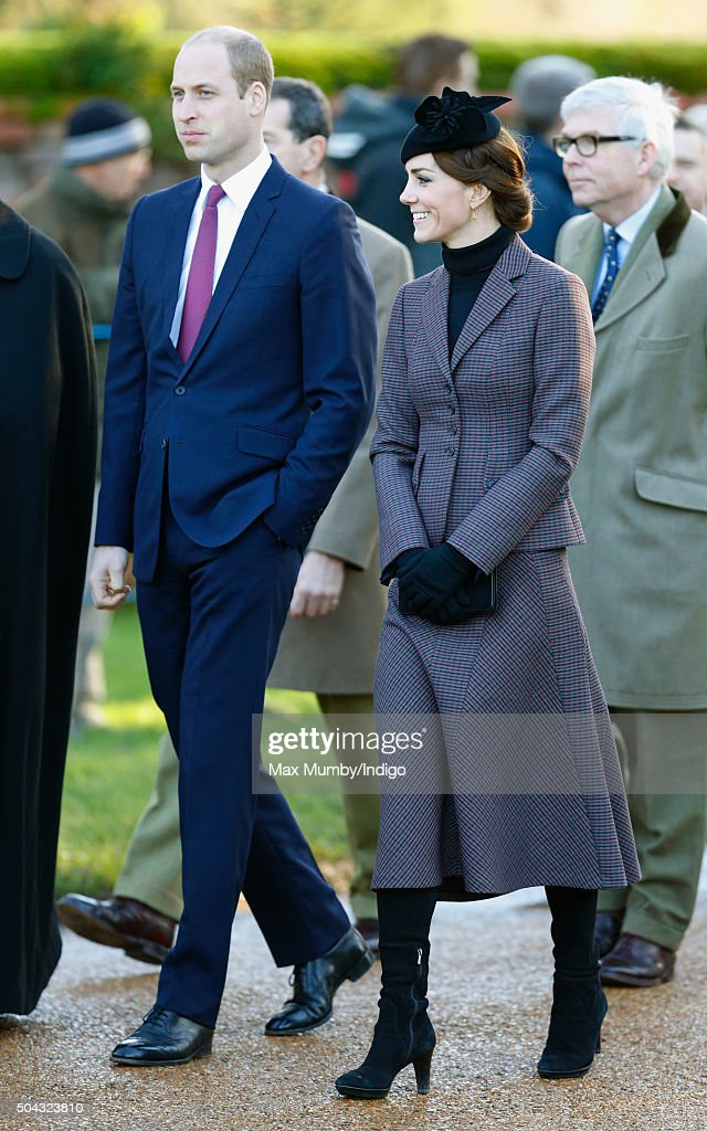 Prince William, Duke of Cambridge and Catherine, Duchess of Cambridge attend a wreath laying ceremony to mark the 100th anniversary of the final withdrawal from the Gallipoli Peninsula at the War Memorial Cross, Sandringham on January 10, 2016 in King's Lynn, England.