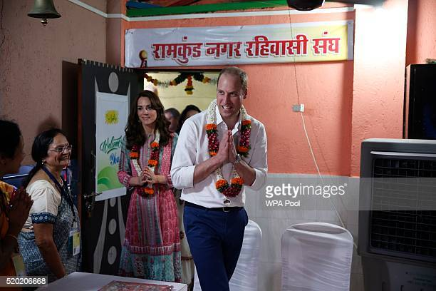 Prince William Duke of Cambridge and Catherine Duchess of Cambridge during a visit to the Banganga Water tank during the royal visit to India and...