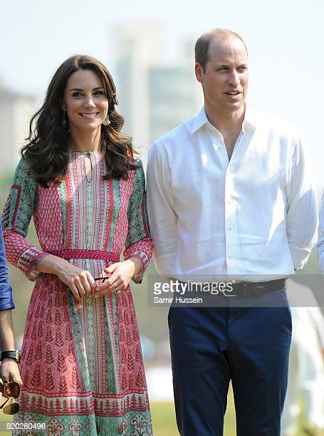 Prince William Duke of Cambridge and Catherine Duchess of Cambridge visit the Oval Maidan ground for a children's cricket match and meeting with...