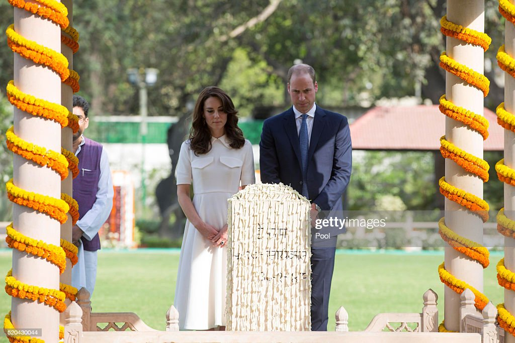 Prince William, Duke of Cambridge and Catherine, Duchess of Cambridge pay their respects at the place where Mahatma Gandhi's life ended on 30 January 1948, at Gandhi Smriti, the Old Birla House museum, during day 2 of the royal visit to India and Bhutan on April 11, 2016 in New Delhi, India. The Duke and Duchess of Cambridge are on a week-long tour of India and Bhutan taking in Mumbai, Delhi, Assam, Bhutan and Agra.