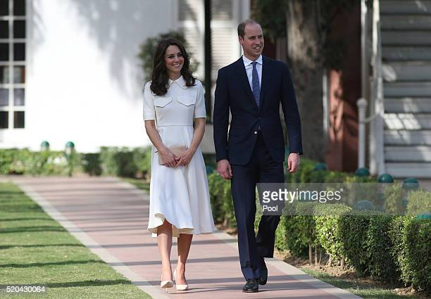 Prince William Duke of Cambridge and Catherine Duchess of Cambridge visit the Old Birla House museum during day 2 of the royal visit to India and...