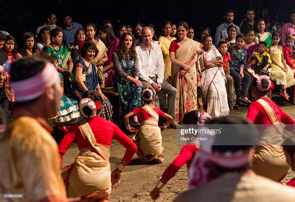 Prince William, Duke of Cambridge and Catherine, Duchess of Cambridge observe a dance and musical performance celebrating Assamese New Year on April 12, 2016 in Guwahati, India.
