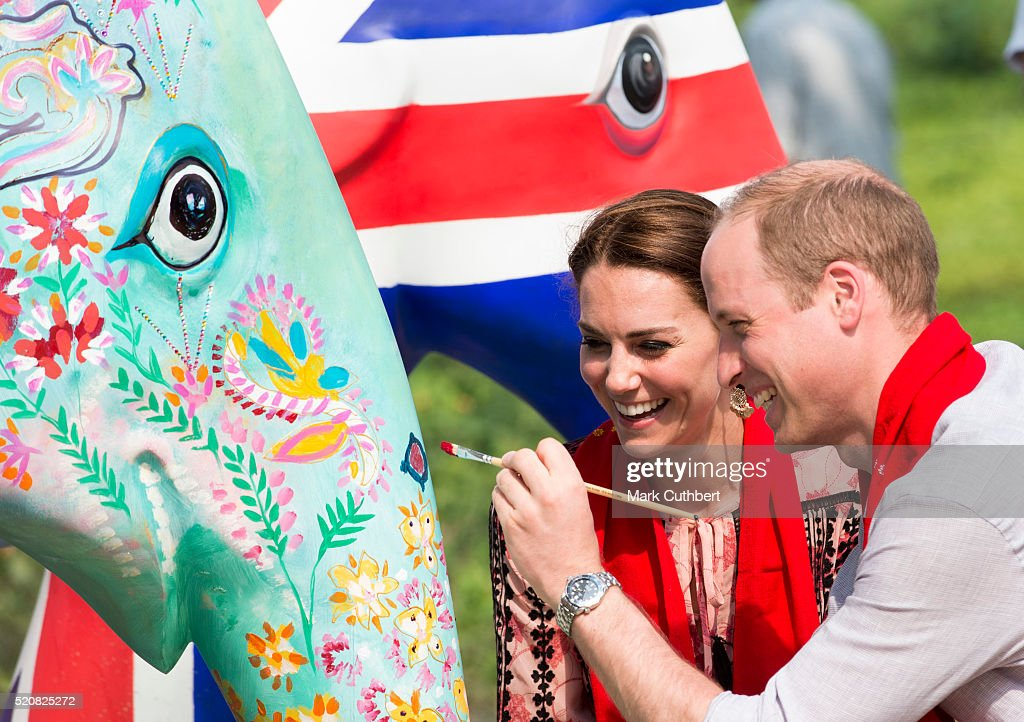 Prince William, Duke of Cambridge and Catherine, Duchess of Cambridge visit the Kaziranga Discovery Centre built by Mark Shand's charity, Elephant Family on April 13, 2016 in Guwahati, India.