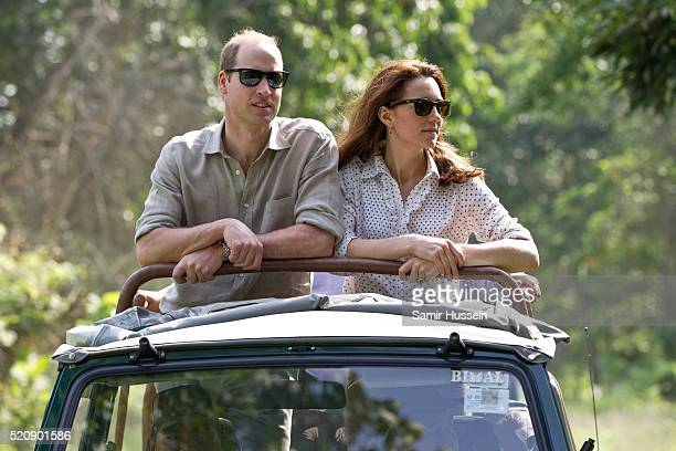 Prince William, Duke of Cambridge and Catherine, Duchess of Cambridge ride in an open air Jeep on a safari at Kaziranga National Park on April 13,...