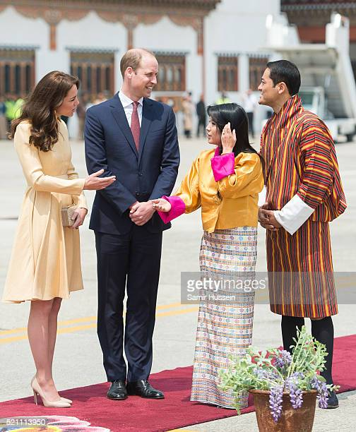 Prince William Duke of Cambridge and Catherine Duchess of Cambridge are greeted by King Wangchuck of Bhutan and Queen Jetsun Pema of Bhutan as they...