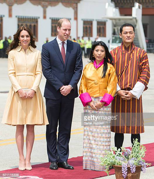 Prince William, Duke of Cambridge and Catherine, Duchess of Cambridge are greeted by King Wangchuck of Bhutan and Queen Jetsun Pema of Bhutan as they...