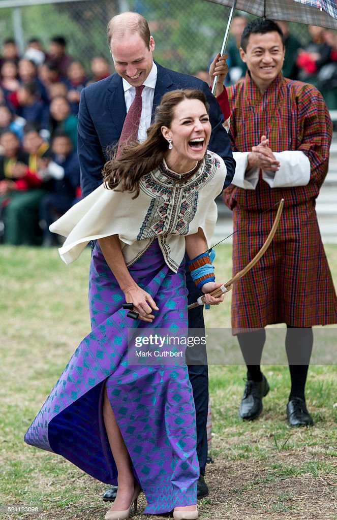 Prince William, Duke of Cambridge and Catherine, Duchess of Cambridge take part in a game of Archery and some young people playing traditional games on April 14, 2016 in Thimphu, Bhutan.