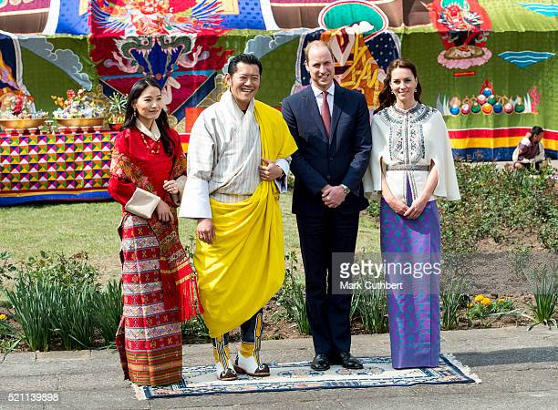 Prince William Duke of Cambridge and Catherine Duchess of Cambridge with King Jigme Khesar Namgyel Wangchuck and Queen Jetsun Pem after a ceremonial...