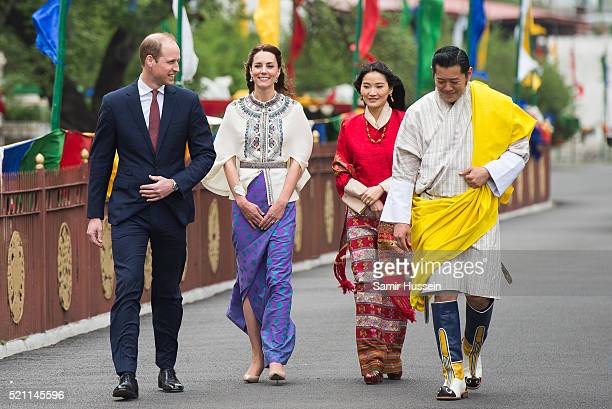 Prince William, Duke of Cambridge and Catherine, Duchess of Cambridge with King Jigme Khesar Namgyel Wangchuck and Queen Jetsun Pem at a ceremonial...