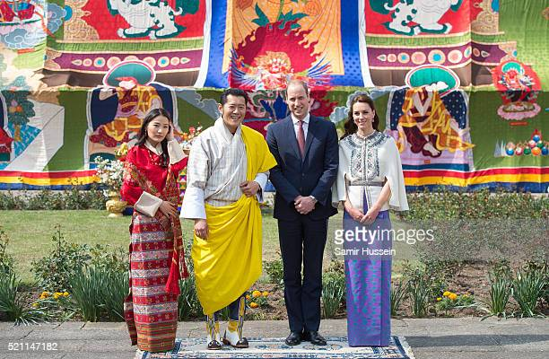 Prince William Duke of Cambridge and Catherine Duchess of Cambridge pose with King Jigme Khesar Namgyel Wangchuck and Queen Jetsun Pem at a...