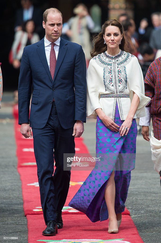 Prince William, Duke of Cambridge and Catherine, Duchess of Cambridge attendwe a ceremonial welcome and audience at TashichhoDong on April 14, 2016 in Thimphu, Bhutan.