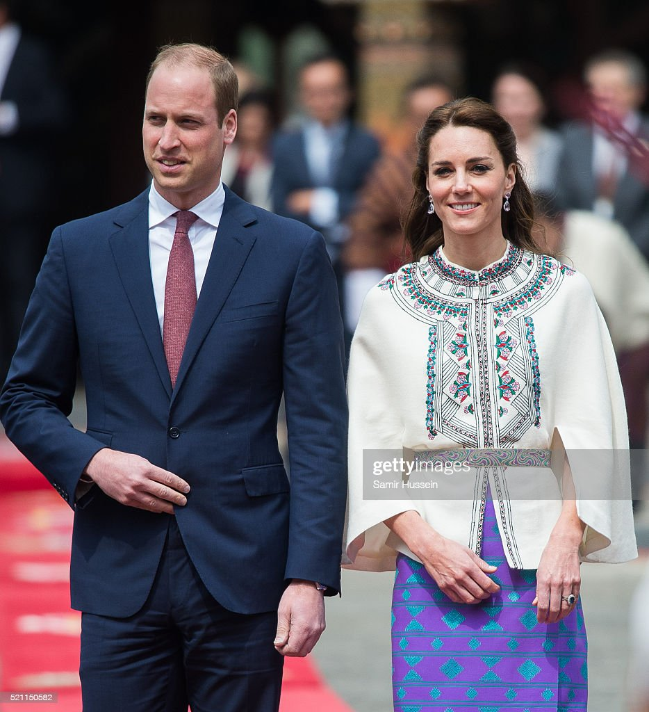 Prince William, Duke of Cambridge and Catherine, Duchess of Cambridge attend a ceremonial welcome and audience at TashichhoDong on April 14, 2016 in Thimphu, Bhutan.