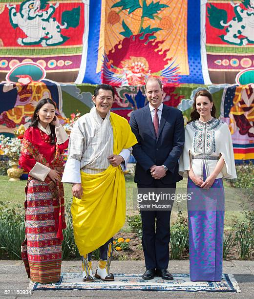 Prince William, Duke of Cambridge and Catherine, Duchess of Cambridge pose with King Jigme Khesar Namgyel Wangchuck and Queen Jetsun Pem at a...
