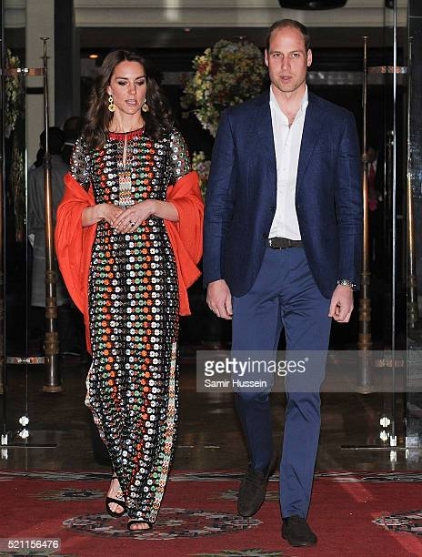 Prince William Duke of Cambridge and Catherine Duchess of Cambridge attend a private dinner with the King and Queen of Bhutan on April 14 2016 in...