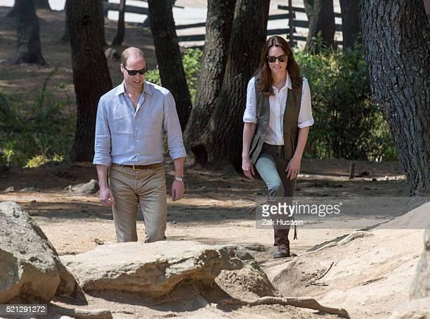 Prince William Duke of Cambridge and Catherine Duchess of Cambridge begin their trek to Tiger's Nest Monastery on April 15 2016 in Bhutan