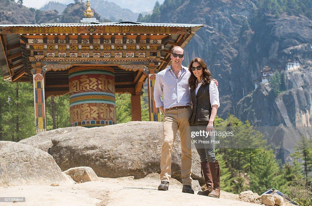 Prince William, Duke of Cambridge and Catherine, Duchess of Cambridge half way on their hike to Paro Taktsang, the Tiger's Nest monastery on April 15, 2016 in Paro, Bhutan.