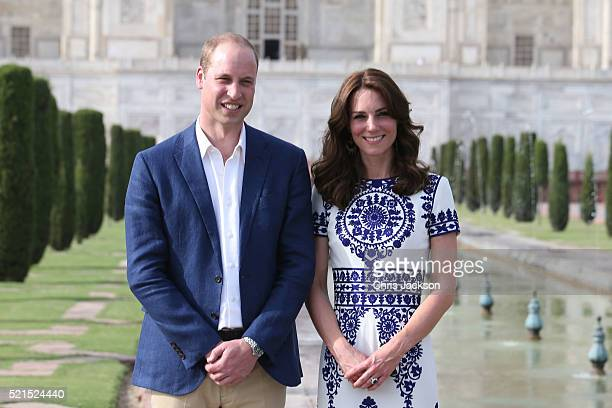 Prince William Duke of Cambridge and Catherine Duchess of Cambridge pose in front of the Taj Mahal on April 16 2016 in Agra India This is the last...