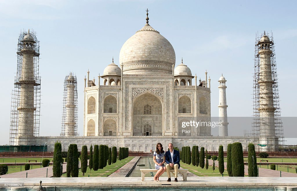 Prince William, Duke of Cambridge and Catherine, Duchess of Cambridge visit the Taj Mahal on April 16, 2016 in Agra, India. This is the last engagement of the Royal couple after a week long visit to India and Bhutan that has taken them in cities such as Mumbai, Delhi, Kaziranga, Bhutan and Agra.