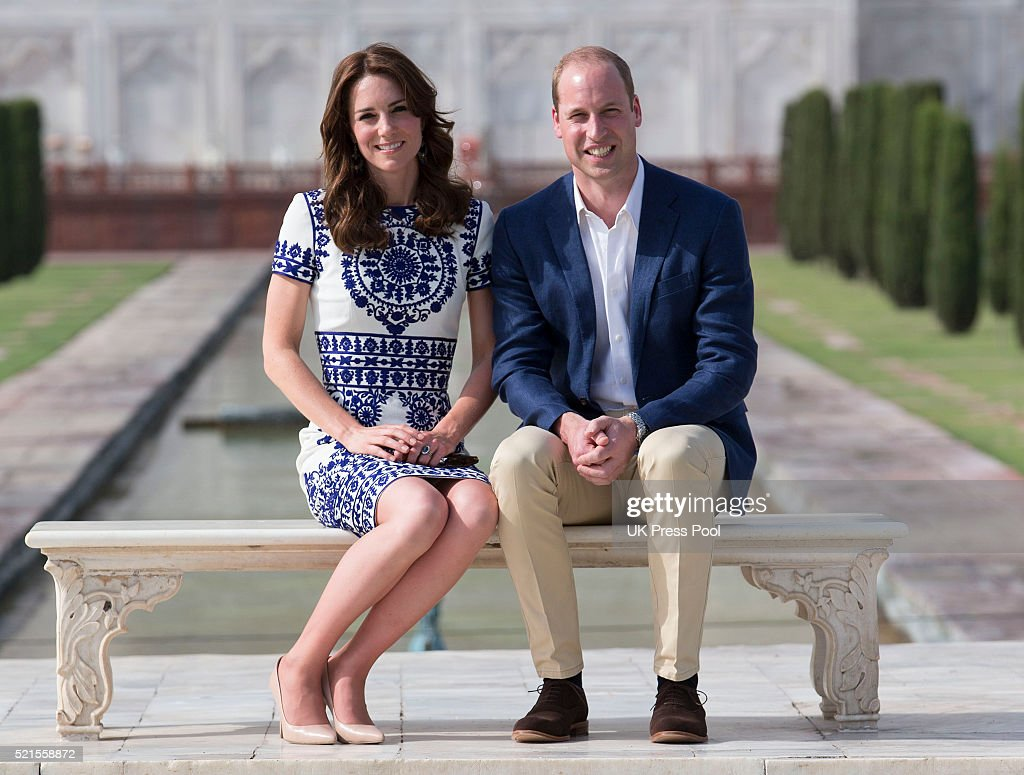 Prince William, Duke of Cambridge and Catherine, Duchess of Cambridge visit the Taj Mahal on April 16, 2016 in Agra, India.