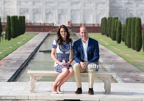Prince William Duke of Cambridge and Catherine Duchess of Cambridge sit in front of the Taj Mahal during day seven of the royal tour of India and...